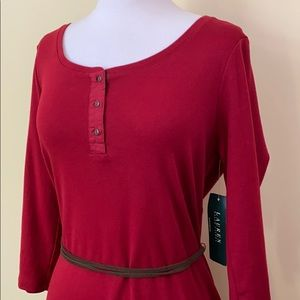 Ralph Lauren Red Belted 3/4 Sleeve Knit Midi Dress